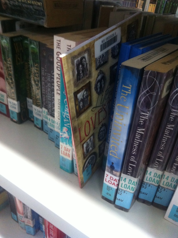 Literary Lovestories on the shelf in the Sheppard Library, Middlesex University, London.